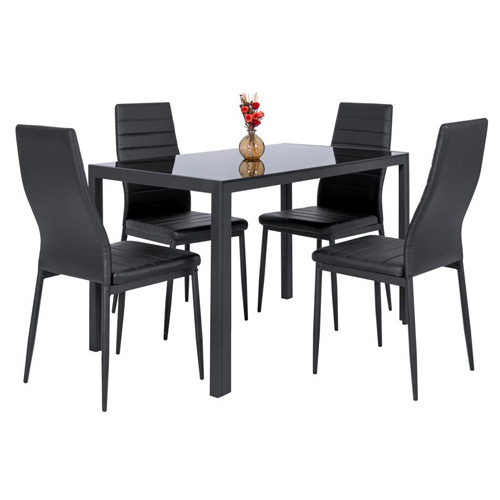 Modern Glass Kitchen Dining Table Set With 4 Leather Chairs