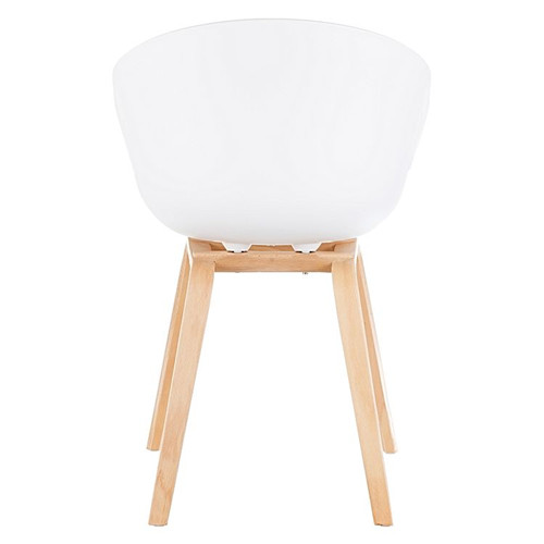 Modern plastic chairs with wooden legs