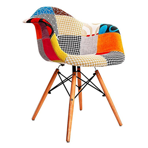 Patchwork Chair Replica Charles & Ray Eames Contoured Armchair, Fabric, Tapered