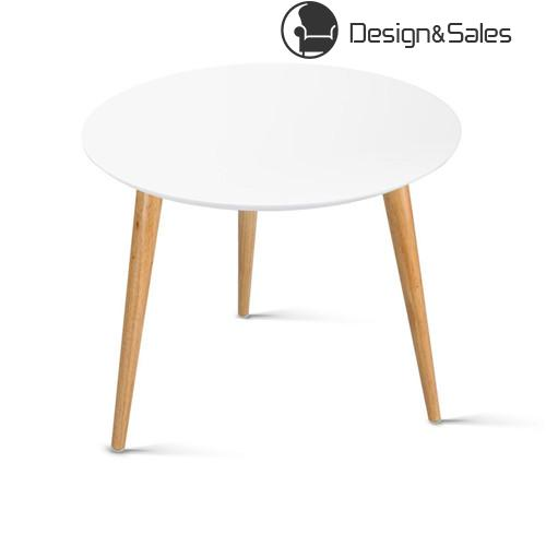 MDF Wood Round Side Table with Beech Legs in White