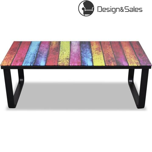 Rectangular Glass Coffee Table with Rainbow Pattern