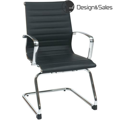 Modern Black Eco Leather Visitors Chair