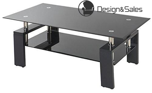 Glass living Room Coffee Table Black Modern Rectangle With Lower Shelf