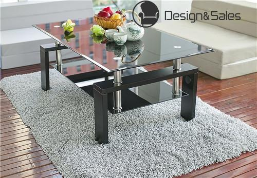 living Room Coffee Table Black Modern Rectangle With Lower Shelf