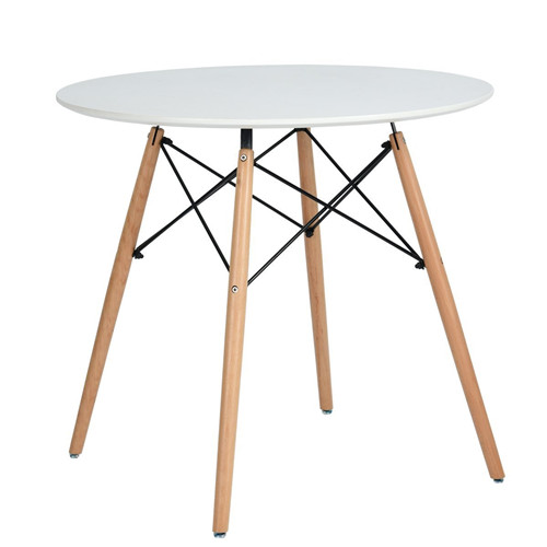 Kitchen Dining Table Round Coffee Table White Modern Leisure Wooden Tea Table Office Conference Pedestal Table