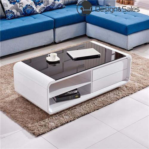 Black Gloss Coffee Table With Storage: White High Gloss Coffee Table With Black Tempered Glass