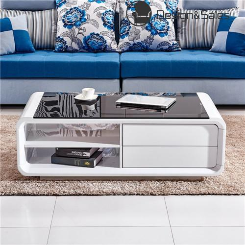 Tempered Glass Coffee Table With Drawers: White High Gloss Coffee Table With Black Tempered Glass