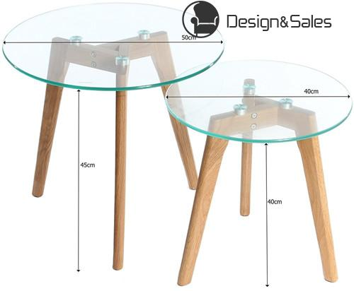 Round Coffee Side Tables Nest with Solid Wood Oak Legs and Glass Top