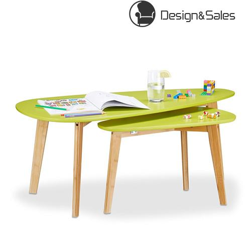 Retro Set of 2 Coffee Tables, Vintage Nesting Tables for Children's Room, Fancy Side/End Tables, Light Green