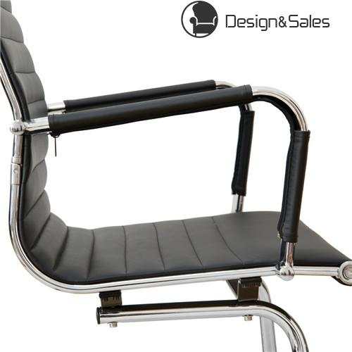 Office Executive Chair High Back Tall Ribbed Pu Leather Arm Rest Computer Chrome Base Home Furniture Conference Room Reception