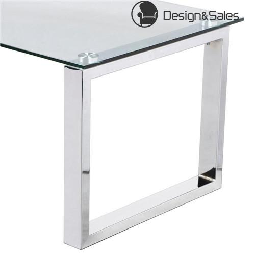 Modern Design Cocktail Coffee Table Tempered Glass Top with Chrome Finish Legs Living Room Furniture