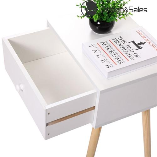 Modern Living Room Furniture Set of 2 Wood Storage Coffee Tea Table End Table With Drawer