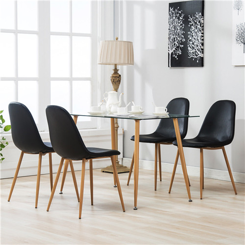 Dining Table and 4 Eames Style Chairs Set Glass Metal Kitchen Dining Room