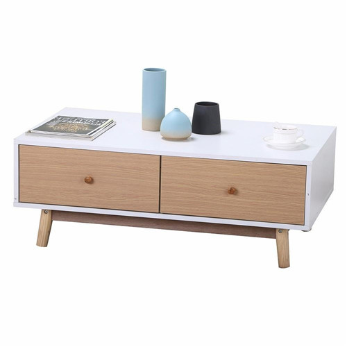 Modern Coffee Table/End Table Cabinet With Drawers Solid Wood Legs