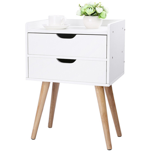 Wood End Table Modern Nightstand Sofa Side Table with 2-Drawer Storage Chairside Bedside Table for Bedroom Office