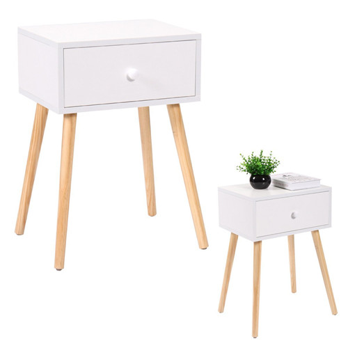 White Mid Century Modern Side End Table Nightstand With Drawer