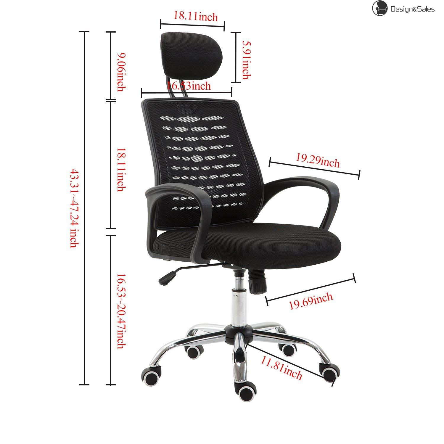 Ergonomic Office Chair Adjustable High Back Mesh Task Executive Chair With