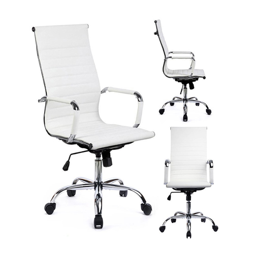 Office Chair Modern Ribbed Swivel Conference Chair Leather Office Chairs High Back Ergonomic Adjustable Chair with Arms