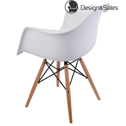 Mid Century Modern Molded Plastic Dining Arm Side Chair Wood Legs White
