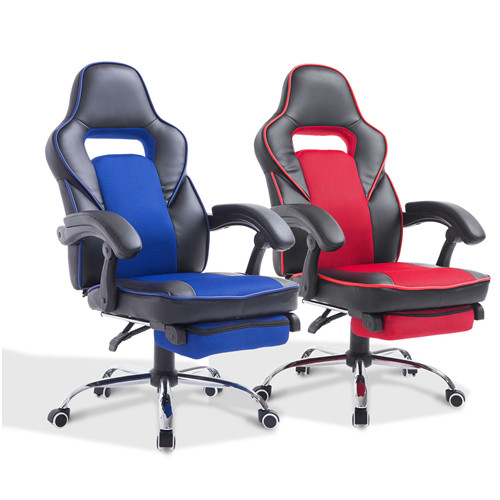 High Back Office Chair Gaming Swivel Race Car Style PU Recliner Seat With Footrest