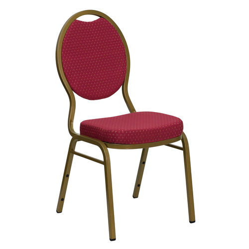 Teardrop Back Stacking Banquet Chair in Burgundy Patterned Fabric - Gold Frame