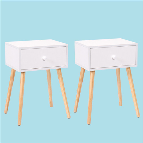 Side Table Nightstand With Drawer Modern Retro Decor Furniture White