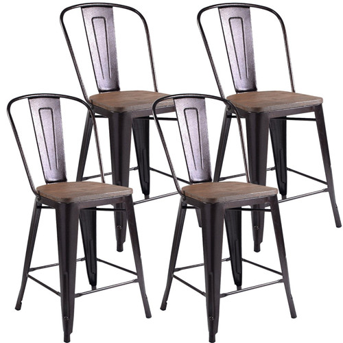 Rustic Metal Wood Bar Chairs