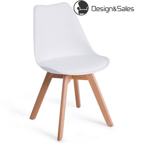 Mid Century Modern Style Dining Side Chair With Wood Legs