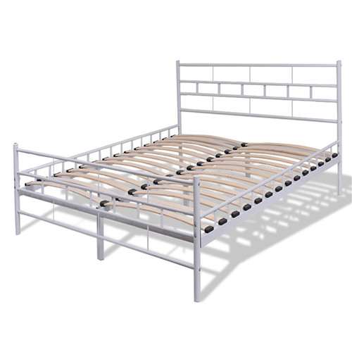 White Steel Bed Frame with Wood Slats and Grid Headboard