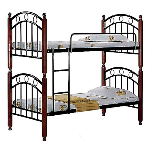 Steel Bunk Bed with Mahogany Wooden Legs