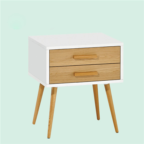 Loft Industrial Two Drawers Cabinet Solid Wood Modern Nightstand