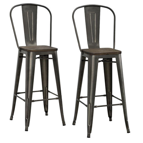 Metal Kitchen Counter Stool Wood Seat High Back Bar Chair Dining Furniture