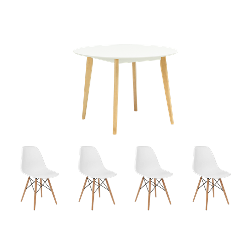 Round Dining Table 4 DSW Chairs White