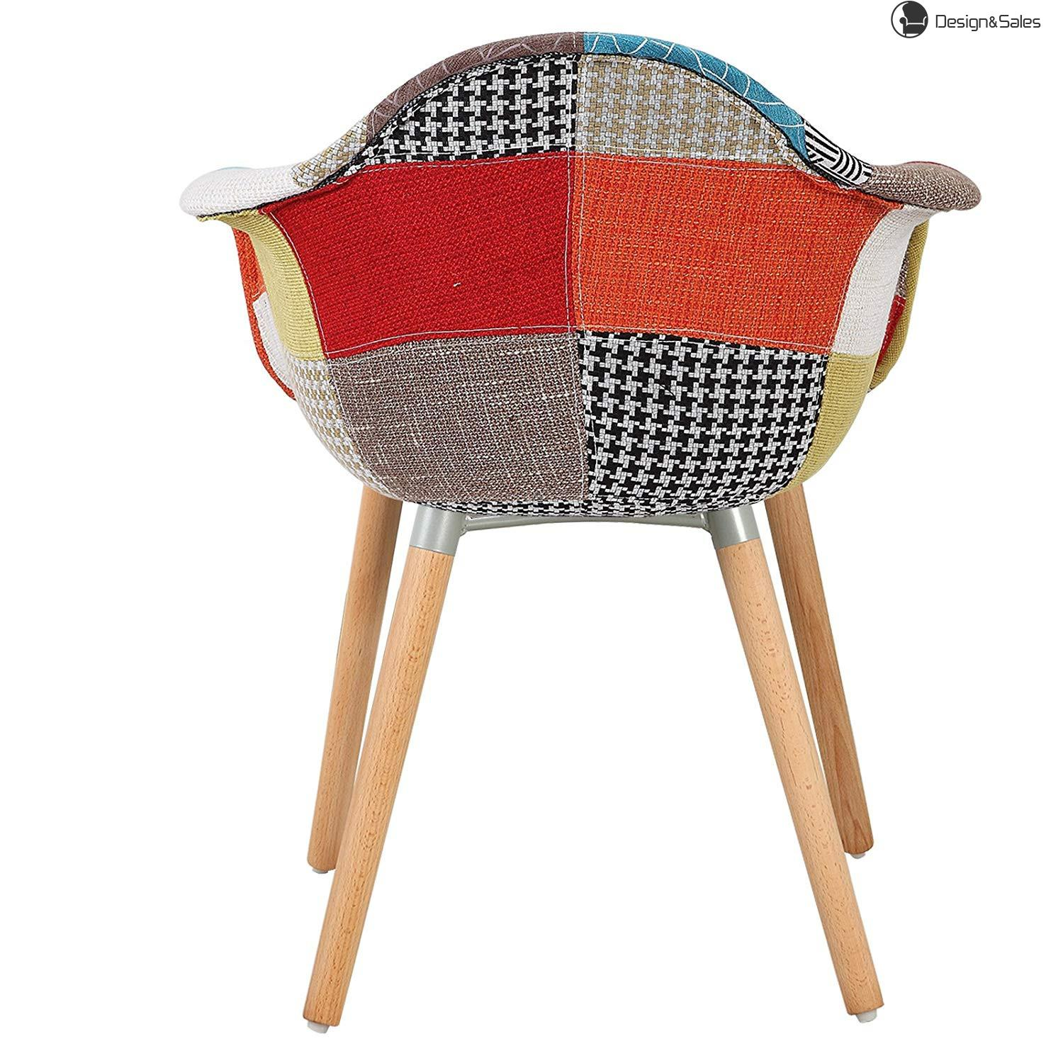 Kitchen Stools Colourful Wood Breakfast Linen Dining Chairs with High Backrests and Armrests luxury Padded