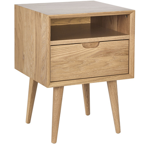 Olsen Oak Square ONE Drawer Bedside Table