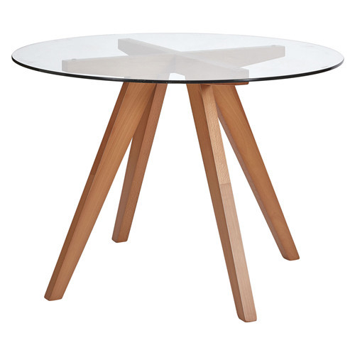 Dining Table Glass Top Scandi Style