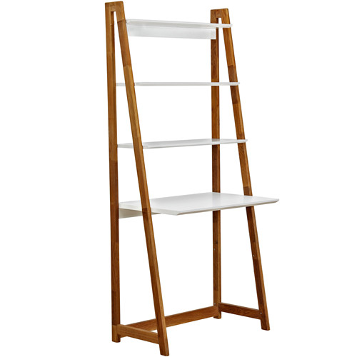 White Ladder Bookshelf Desk