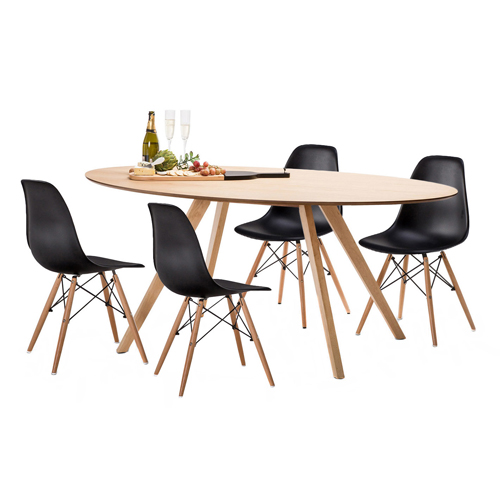 4 Seater Betty Dining Table & Eames Replica Chairs Set