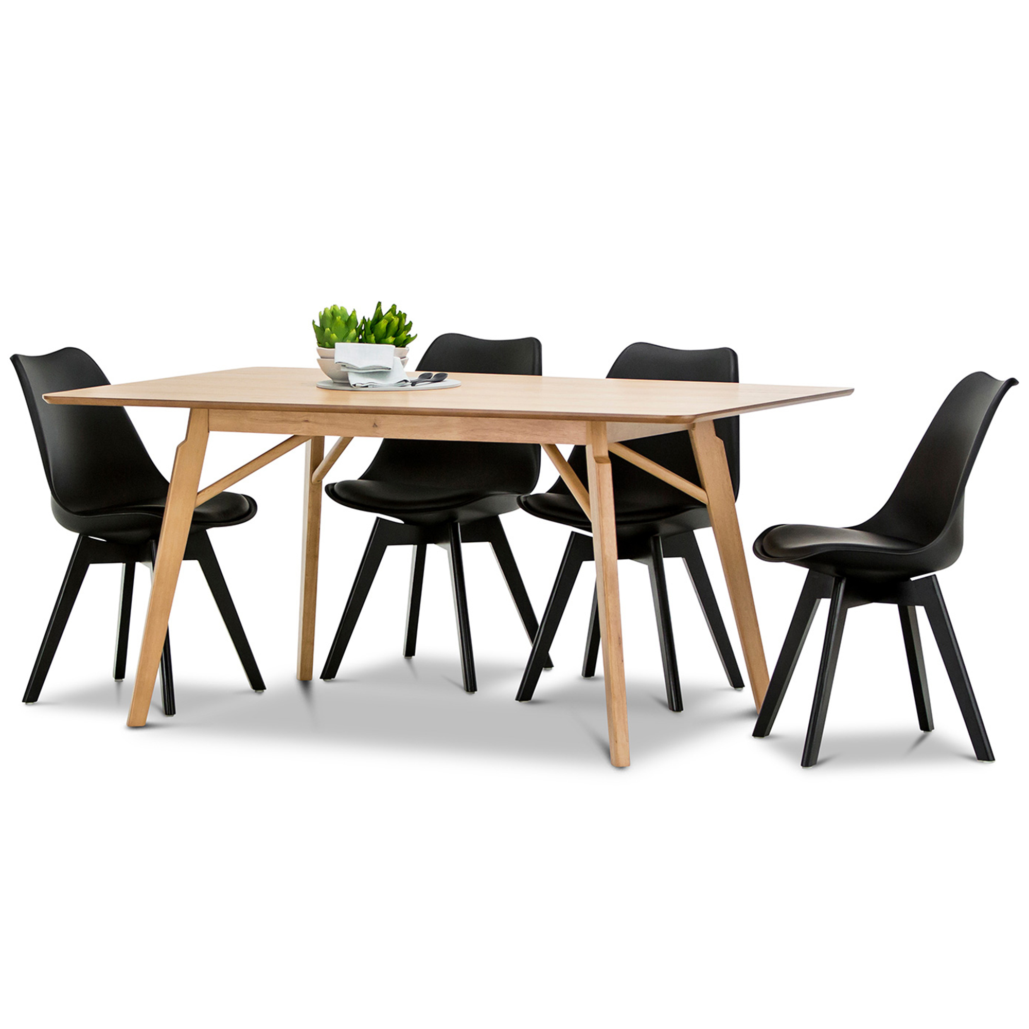 Dining Table & Eames Replica Padded Chairs Set