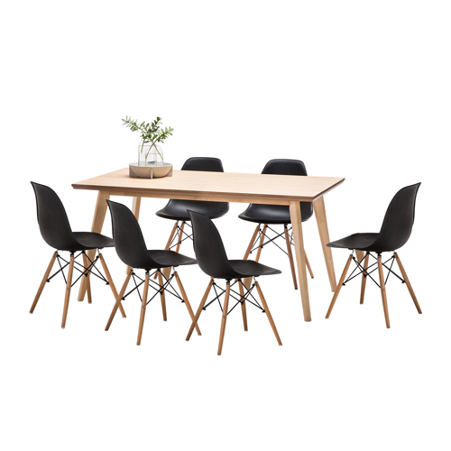 Higdon Dining Table Set with 6 Replica Eames Chairs