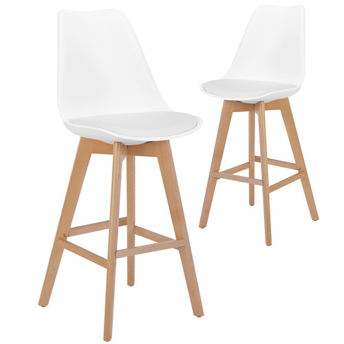 White HIGDON High Back Barstools