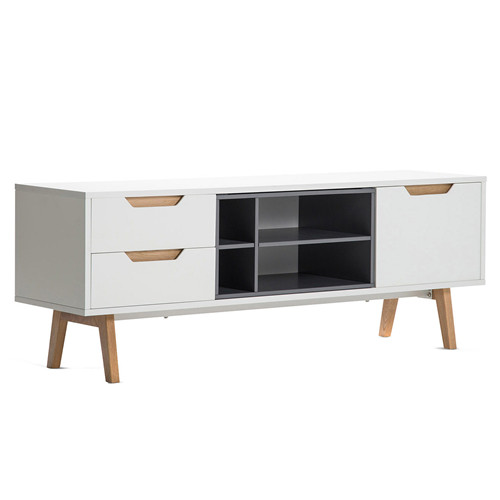 White & Grey Scandi Entertainment Unit