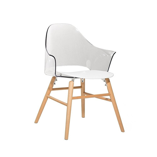 HIGDON Transparent White Plastic Scandinavian-style Dining Chair