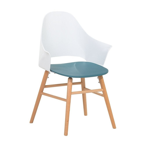 Blue White Wood Frame Dining Chair