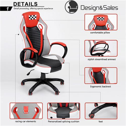 Racing Style Leather Gaming Chair Ergonomic Swivel Computer Office