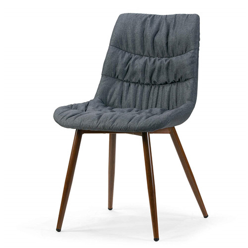 Grey Fabric Dining Chair with Pleat Details and Brown Metal Legs