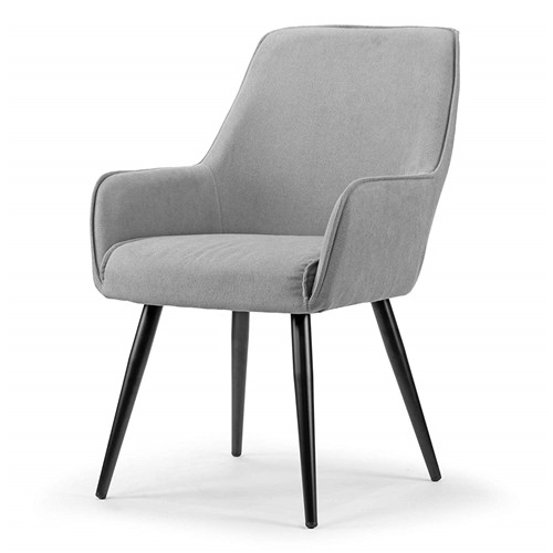 Grey Dining Chair with Black Metal Legs and Square Arms