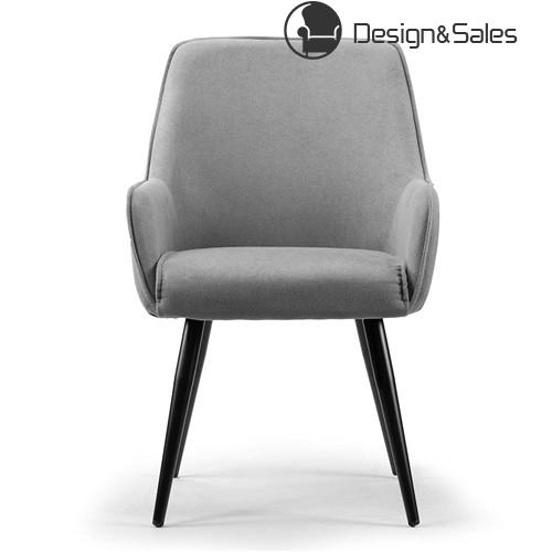 4888bfd8b2d Grey Dining Chair with Black Metal Legs and Square Arms