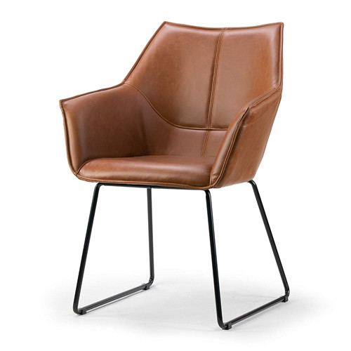 Brown Arm Chair with Black Metal Legs
