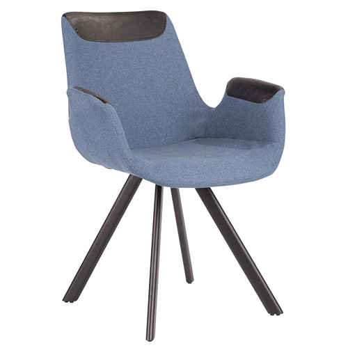 Industrial Vintage Flair Chair in Blue Fabric with Black Faux Leather Accent